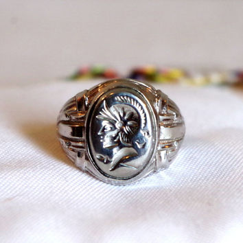Vintage Uncas Intaglio Ring- Nickel Silver, with Roman Soldier Face- Shiny Silver Oval Uncas Ring- Signed Designer Costume Jewelry