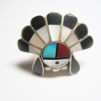 Headdress Ring Zuni Sunface Sterling Inlay Size 4.5 New Old Stock