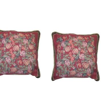 DaDa Bedding Set of Two Red Field of Roses Cushion Covers w/ Pillow Inserts - 2-PCS - 18""