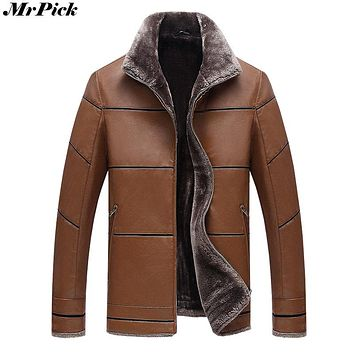 Mrpick Brand Men's Warm Leather Fur Lined Designer Jacket/Coat