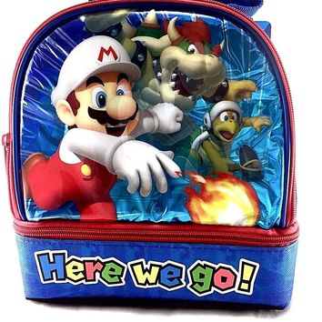 Nintendo Super Mario Boys & Girls Canvas Insulated Lunch Bag-Here We Go !