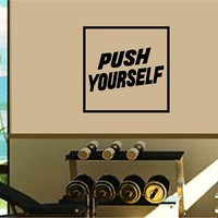 Dabbledown Push Yourself Simple Square Window Lettering Decal Sticker Decals Stickers