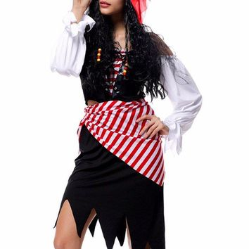 Gothic Pirate Off Shoulder Bandage Parti Color Stripe Belt Headband Halloween Costumes Suits Women