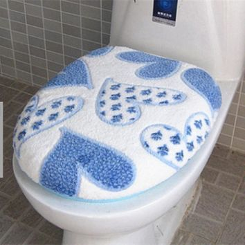 2pcs Super Soft Coral Fleece Toilet Seat Cover Set