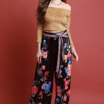 Satin Floral Printed Waist-Tie Wide Leg Pants