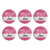 Jen Hello My Name Is Plastic Resin Button Set of 6