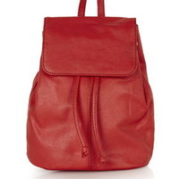 Mini Leather Backpack - Red