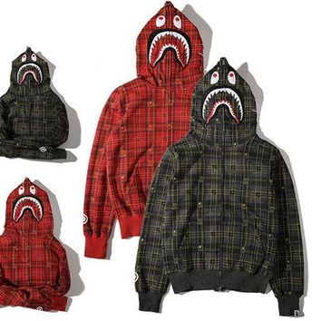 Men's Fashion Winter Plaid Hats Zippers Hoodies Jacket