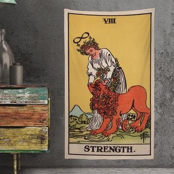 The Strength Tarot Card Tapestry - Full Card Tapestry - Rider Waite Deck Tapestry