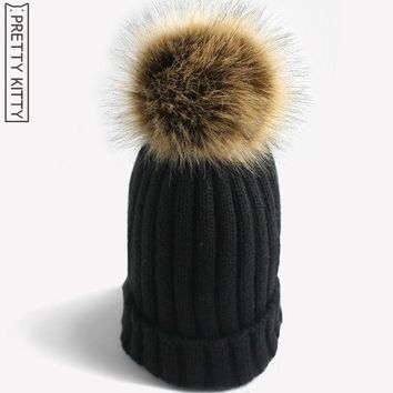 CREYCI7 PRETTY KITTY 2017 Man-made  Pom poms fur warm winter hat for women girl 's knitted beanies cap