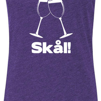 Wine Glass Swedish Cheers (White) Tri-Blend Racerback Tank-Top