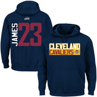 Mens Cleveland Cavaliers LeBron James Navy Blue Vertical Name & Number Hoodie