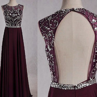 Long Burgundy Backless Prom Dresses,Beaded Crystal Prom Dresses,Chiffon Evening Dresses,Party Dresses,Homecoming Dresses