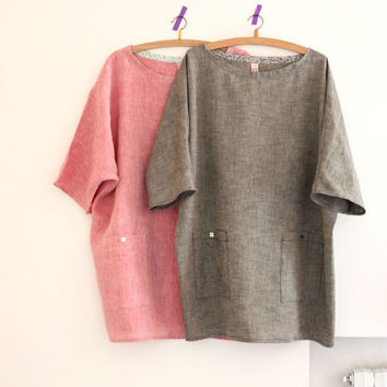 Women linen tunic, oversized top with pockets, linen shirt. Sizes M, L, XL. Made to order.