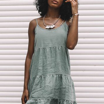 GLAM APPAREL Be Proud Army Green Linen Dress