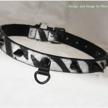 SALE - XS / S Punk Zebra Striped Faux Fur Vegan Leather Spiked Collar - Spiked Slave Collar - Vegan Bondage Collar