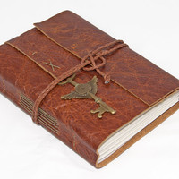 Rustic Distressed Brown Leather Journal with Winged Key Clock Charm Bookmark and Lined Paper