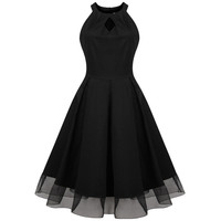 Women's Summer Cotton Retro Vintage Runway Swing Dress Black Plus Size S-4XL Vestidos Party Formal Elegant Feminine Dress