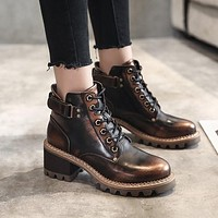 Lace Up Ankle Boots High Heels Women Shoes