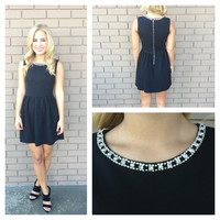 Black Crystal Neckline Babydoll Dress