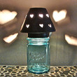Vintage Blue Mason Jar Heart Shade Night Light or Accent Lamp  Antiqued Pewter