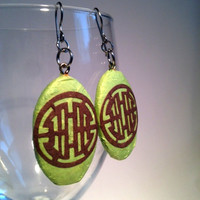 Green Hanji Paper Earrings Dangle Brown Circle Design Hypoallergenic hooks Lightweight Paper Jewelry