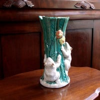 Vintage Majolica Ceramic Vase Green Tropical 2 White Frogs Pottery Vase