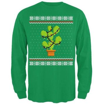 PEAPGQ9 Cactus Prickly Pear Tree Ugly Christmas Sweater Mens Long Sleeve T Shirt