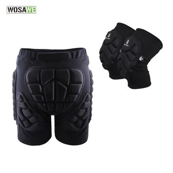 WOSAWE Sports Protective Gear Hip Pads+Knee Pads Ski Skate Skateboard Snowboard Protection Shorts Drop Resistance Hip Protector