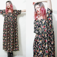 90s Vintage FLORAL Dress BABYDOLL Grunge Long Black Cheesecloth Dark Slouchy 1990s vtg M L