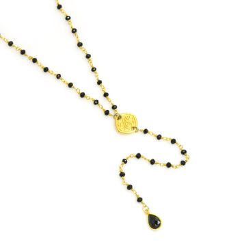 Black Onyx Gold Rosary Chain Y Necklace