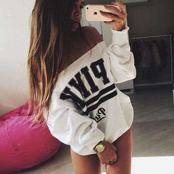 Fashion sexy off shoulder print loose leisure sweater