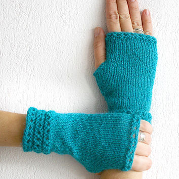 Elegant woman gloves in turquoise, knit fingerless gloves mittens, glove mitten, arm warmers