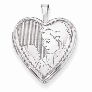 14k White Gold 20MM Mother and Child Heart Locket