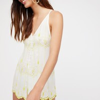 Free People Boo Yah Embroidered Romper