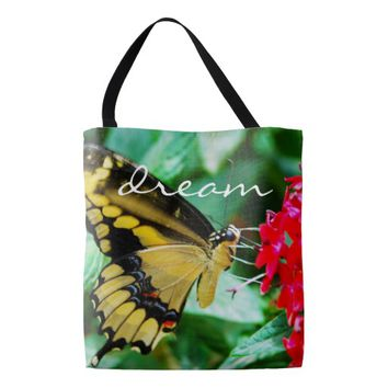 """Dream"" yellow & black butterfly photo tote bag"