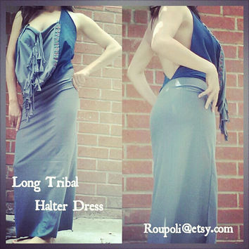 Tribal Long Halter Dress Open Back Adult Size XS/S by Roupoli
