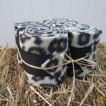 Set of 4 Polo Wraps for Horses- Leopard Print Fleece