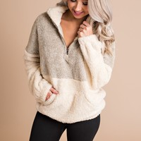 Whistler Snow Fuzzy Pull Over (Taupe/Cream)
