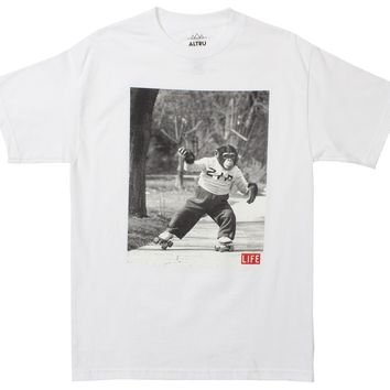 Life Monkey Skate on white Tee by Altru Apparel (ZIP IS AN APE, NOT A MONKEY)