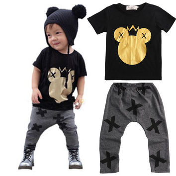 Children T-shirt Tops Black + Pants Casual Infant Baby Kids Boys Clothes Sets Cartoon Minions Dark Gray 2pcs Cotton Sets Boys