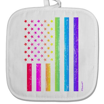 American Pride - Rainbow Flag White Fabric Pot Holder Hot Pad