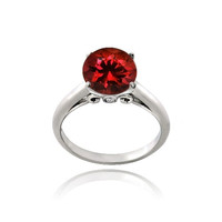 Sterling Silver 2.25ct Created Ruby Round Solitaire Ring
