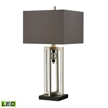 Silver Leaf LED Table Lamp With Crystal Accents And Grey Shade
