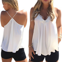 Women Vest Back Cross Sleeveless Shirt Lace Sexy Casual Tops Camis Deep V Neck Girls Tees CF