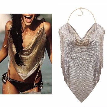 Shiny Mesh Backless Body Chain Top