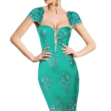 Chicloth Green Embroidered Cap Sleeves Bodycon Party Dress