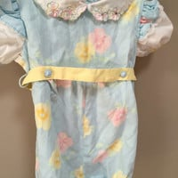 Vintage Baby Romper 2T Disney Vintage 80s Toddler Romper, Light Blue Floral Vintage Romper Cap Sleeve Pretty Romper 1980s Winnie the Pooh 2