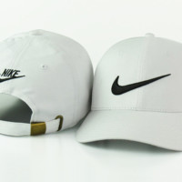 Stylish Nike Hook Cotton Baseball Cap Hats - White