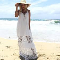 Sun Dried Crochet Panel Maxi Dress In White